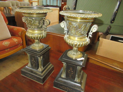 Pair-of-small-brass-mounted-urns