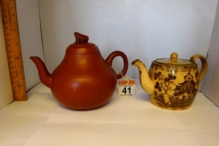 Lot-041-Chinese-Clay-Teapot-Decorated-with-Frog-Words-damage-to-frog-and-Small-Glazed-Teapot-with-Oriental-Decor
