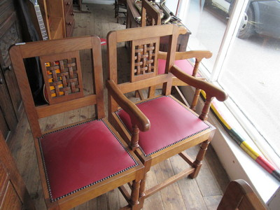 Two-of-a-set-of-Four-lattice-backed-dining-chairs-inc-2-carver-possibly-Pollard